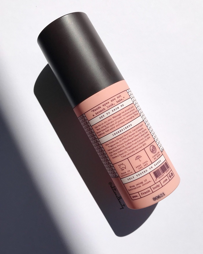 Frank Body Anti-Makeup Cleansing Oil Review (Back Packaging)
