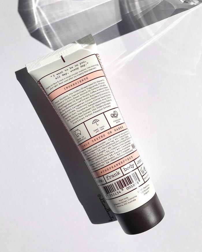 Frank Body Everyday Face Moisturiser Review (Back Packaging)